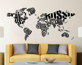 wall decal world map letters world map wall decal large wall map with countries