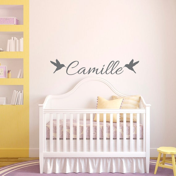 NAME WALL DECAL Girl Birds Nursery Decals Personalized Wall | Etsy