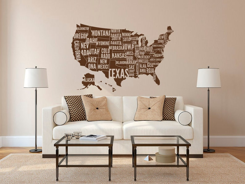Large Usa Map Wall Decal Usa Map Wall Sticker With Location Etsy