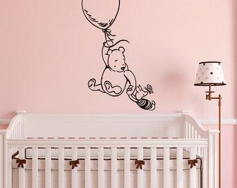 Winnie The Pooh Wall Decal Sticker- Classic Winnie The Pooh Nursery Wall Decals- Pooh Bear Piglet Nursery Baby Kids Room Wall Art Decor Q253