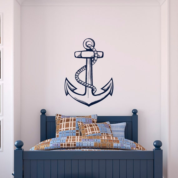 nautical anchor wall decal sea ocean wall decal stickers | etsy