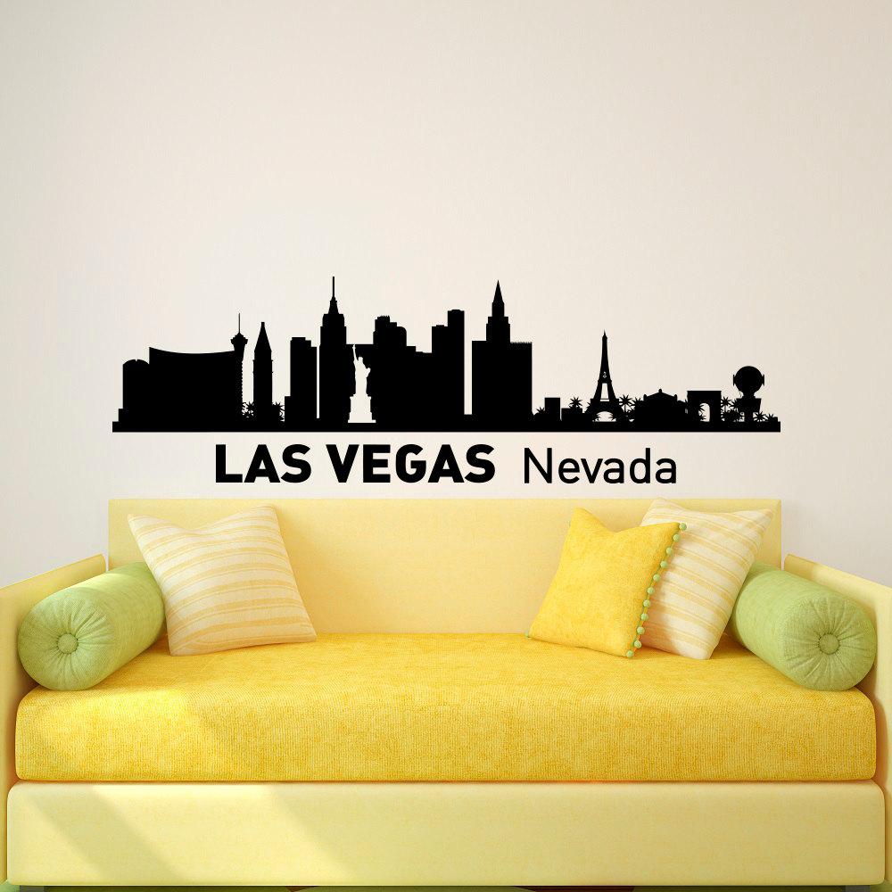 Las Vegas Skyline Wall Decal City Silhouette Las Vegas Nevada   Etsy