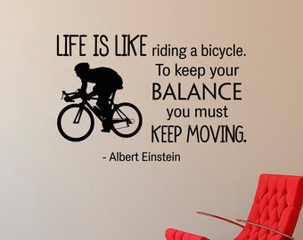Albert Einstein Quote Wall Decal Life Is Like Riding A Bicycle Motivational Quotes Wall Decor Vinyl Lettering Einstein Wall Art Decals Q228