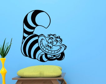 Alice In Wonderland Vinyl Wall Decal- Cheshire Cat Wall Decal Sticker- Wall Decals For Nursery- Wall Decal Kids- Nursery Wall Decals Q045