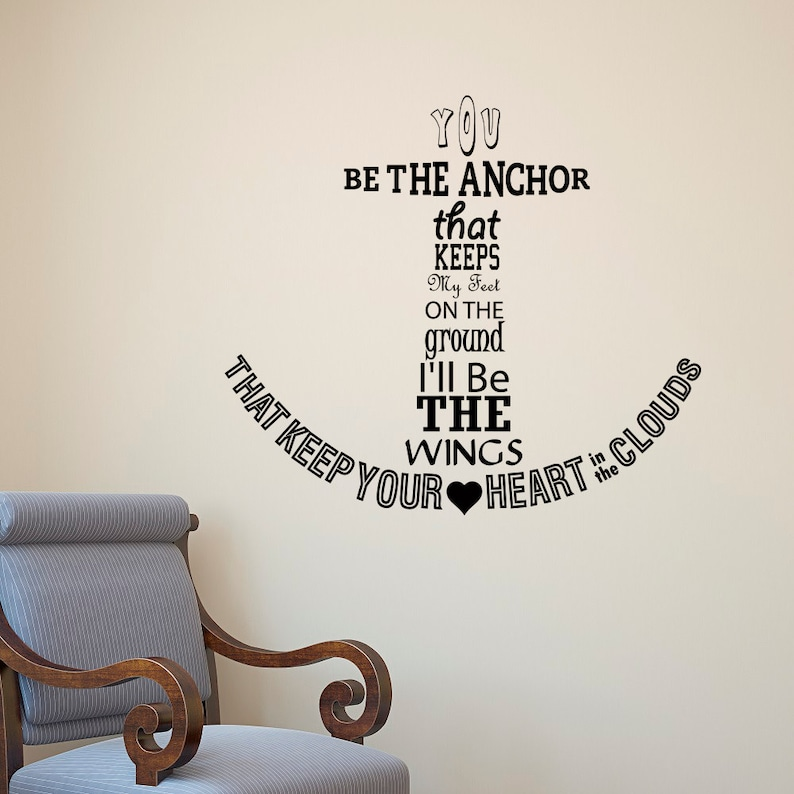 Nautical Anchor Wall Decal Quote You Be The Anchor That Keeps Etsy