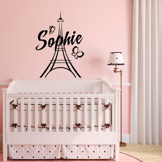 Personalized Paris Wall Decals Vinyl Stickers by FabWallDecals - Girl Name  Wall Decal Paris Theme Bedroom- Eiffel Tower Wall Decal M067
