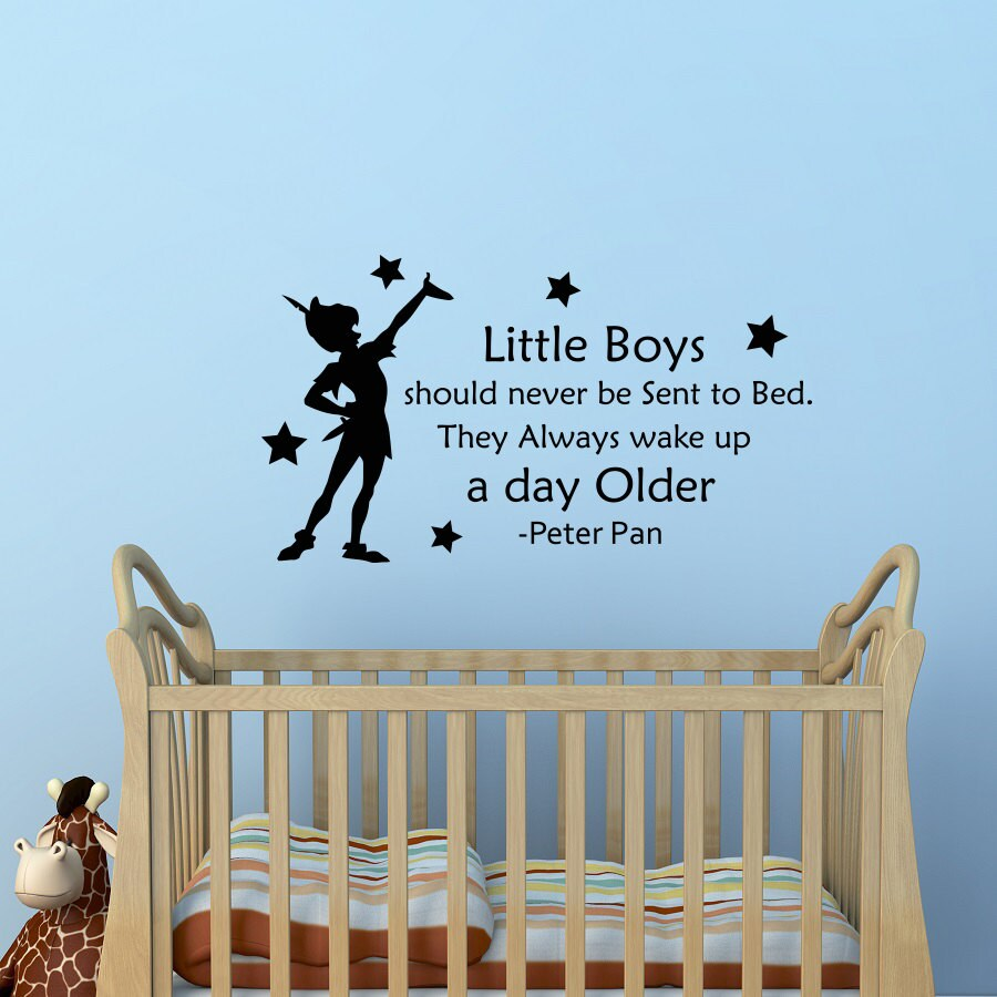 Peter Pan Wall Decal Quote Little Boys Should Never Be Sent To Etsy