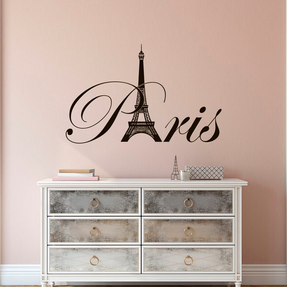 Paris Themed Vinyl Wall Art: Paris Eiffel Tower Vinyl Wall Decal Paris Theme Bedroom