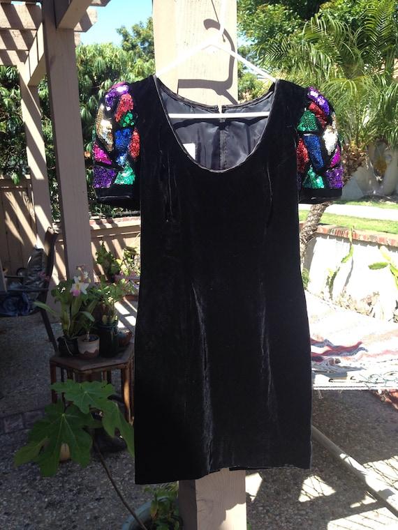 80s GLAM DRESS-VELVET W SEQUINs