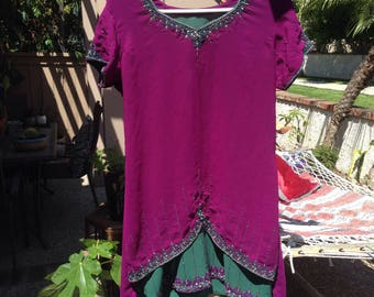 Vintage purple silk Indian Dress
