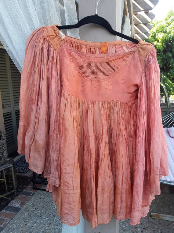 ANTIQUE Gauze  FLAPPER BLOUSE w Angel Wing Sleeves