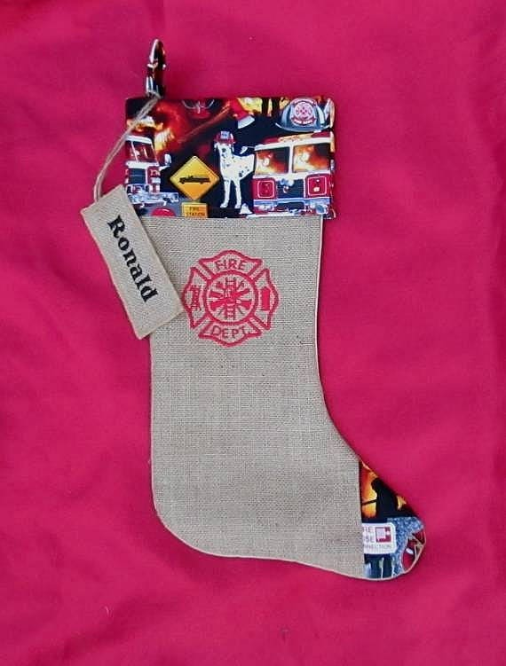 Firefighter Christmas Stocking.Free Shipping Within Us Maltese Cross Christmas Stocking Hand Made Personalized Firefighter Christmas Stocking