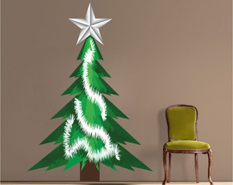 Christmas Tree Decal Holiday Christmas Decor Wall Design Holiday Wall Art Stickers Christmas Tree Mural Wall Designs Holiday Decoration, h60