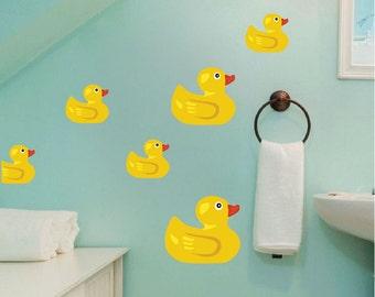 Duck Wall Decals, Rubber Duck Wall Murals, Bathroom Duck Wall Stickers, Kids' Room Wall Duck Designs, Peel and Stick Duck Decals, d29