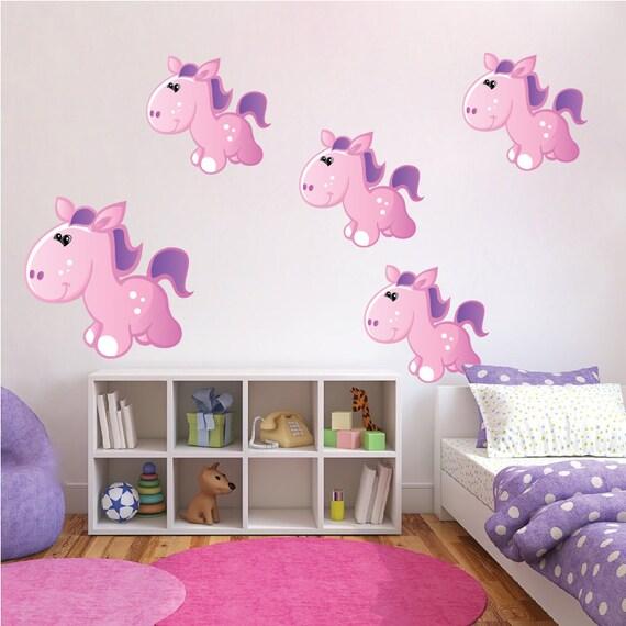 Pony Stickers murali, bambini camera da letto Pony decalcomanie, adesivi  murali di ragazza camera Pony, Pony parete arte disegni, murales di Pony ...