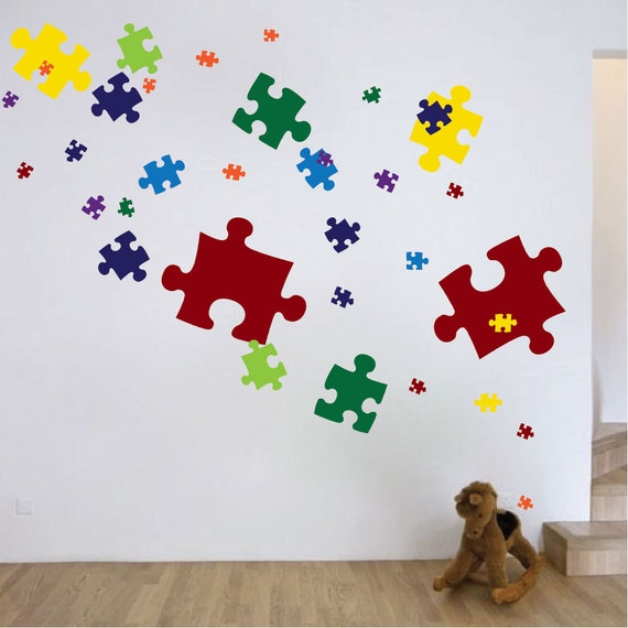 Puzzle Piece Wall Decals Puzzle Piece Wall Mural Puzzle Piece Etsy