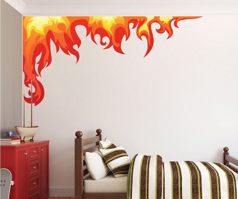 Boys Room Flame Wall Decals Stickers Kids Room Fire Flames | Etsy