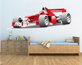 Race Car Wall Decal, Race Car Wall Design, Race Car Wall Decal, Kids' Room Wall Decals, Peel & Stick Racecar, Race Car Wall Art Sticker, c98