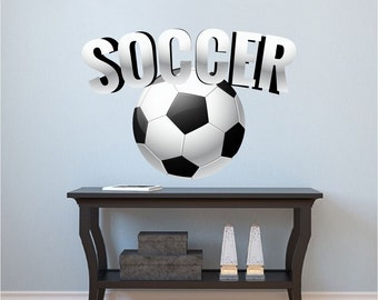 Soccer Art Sticker, Soccer Art Design, Soccer Wall Mural, Soccer Wall Decal, Kid's Room Soccer Design, Boy's Room Soccer Wall Decal, s03