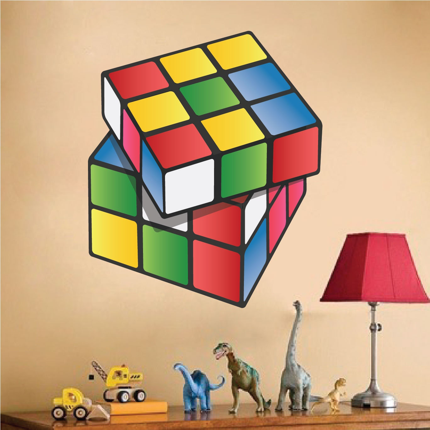 Rubiks cube kids wall decals rubiks cube wall art design kids etsy