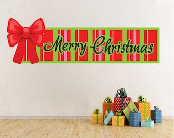 Merry Christmas Decal, Merry Christmas Quote, Merry Christmas Wall Art, Christmas Wall Banners, Christmas Wall Decor, Christmas Art, h42