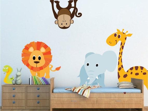 Przedszkola Zoo Zwierząt Naklejki ścienne Mural Dzieci Pokój Etsy