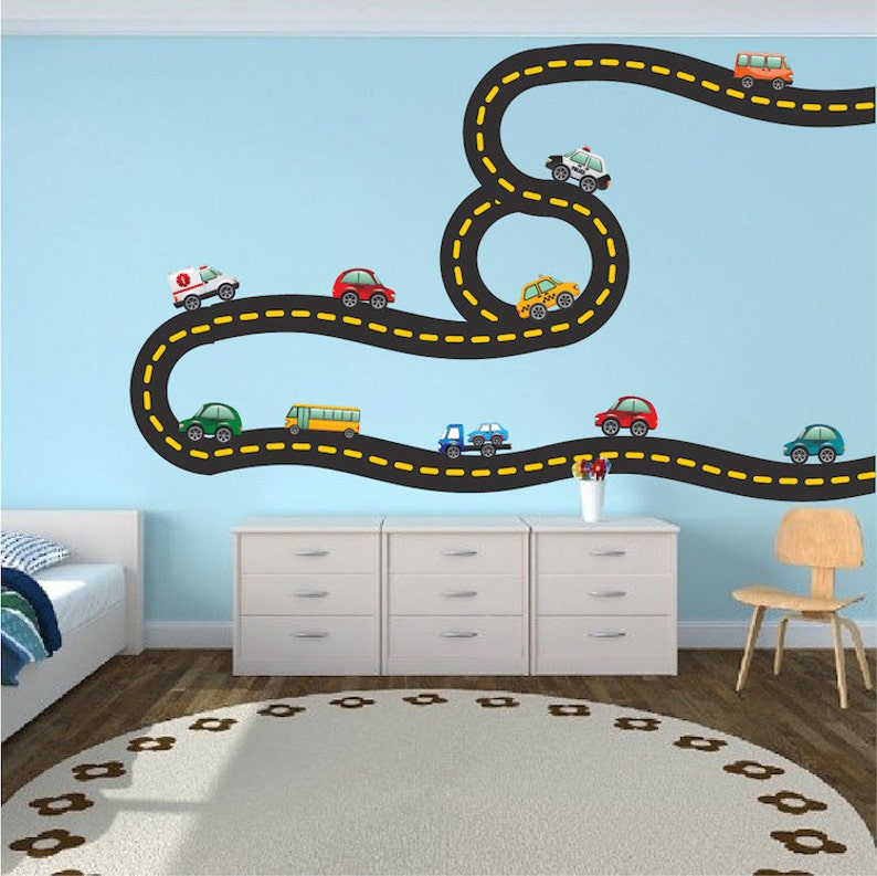 Car Tracks Decals Race Road Track Wall Art Stickers Kids   Etsy