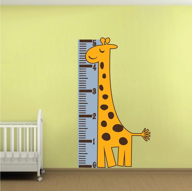 measure chart wall decal giraffe height chart murals growth   etsy