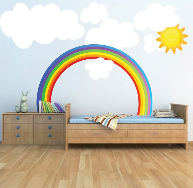 Rainbow Wall Decal Kids Bedroom Rainbows Rainbow Wall Art Nursery Rainbow Design Kids Room Rainbow Wallpaper Mural Decal Rainbow N67