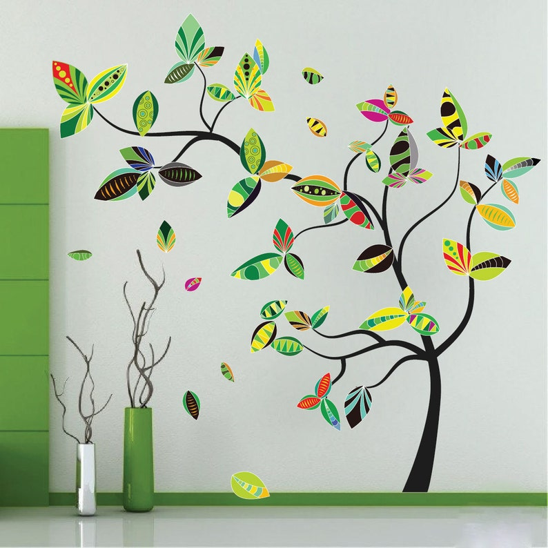 Large Tree Branch Decal Mural, Branch Decal Mural, Large Tree Wall Design,  Branch Wall Design for Living Room, Tree Wall Murals, n58