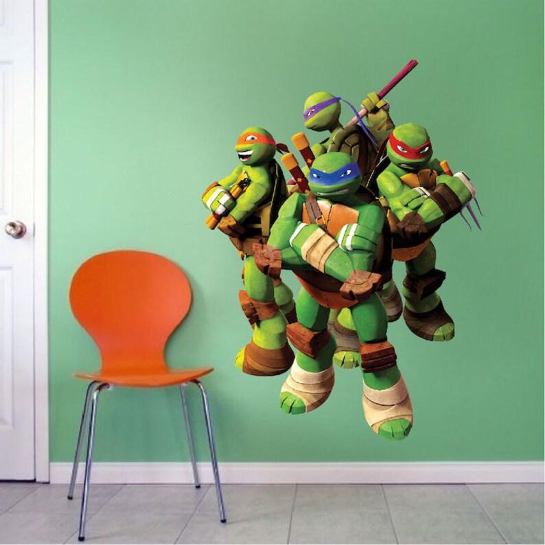 Ninja Turtles Slaapkamer.Teenage Mutant Ninja Turtles Wall Decal Kids Bedroom Wall Art Etsy