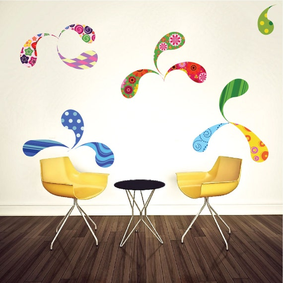 paisley wall decals kids room wall murals colorful wall etsy