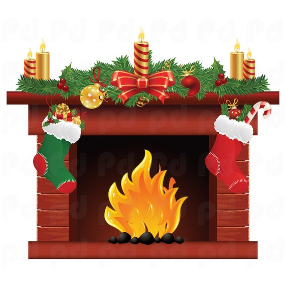 Fireplace Christmas.Christmas Fireplace Decal Mural Holiday Fireplace Decal Yule Log Decal Interior Wall Decor Wall Sticker Cling Fireplace Wall Decal H92