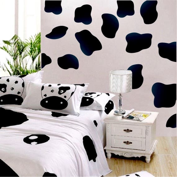 Delicieux Black Cow Spot Decal Cow Print Wallpaper Cow Skin Peel And | Etsy