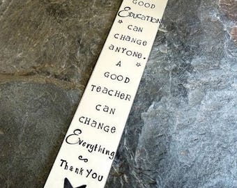Teacher bookmark, teacher appreciation, teacher gift, nursery gift, handstamped bookmark, personalised bookmark, end of year gift,