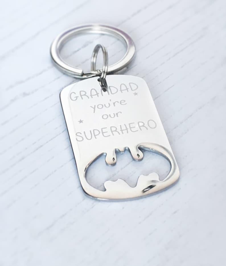 Fathers Day keyring Daddy you/'re my superhero Grandad gift Dad Christmas Daddy gift Superhero gift engraved Daddy Batman dogtag