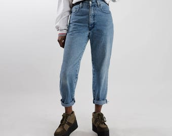 Vintage highwaist mom jeans / 90s high waisted jeans / Women's faded jeans / Vintage 90s light blue jeans / Faded boyfriend jeans / Size XS