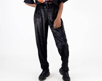 Night black vintage velvet trousers / 90s jogging pants / Velours nineties trousers / Crushed velvet loosefitted pants / Size M