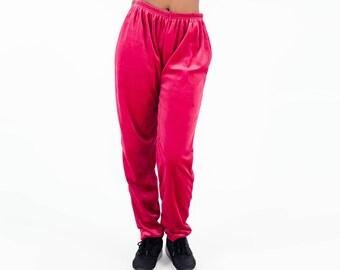 Velours nineties trousers / Soft velvet loosefitted pants / Pink vintage velvet trousers / 90s jogging pants / Pink / Size M