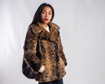 0d5f43eb47b0 Women's vintage faux fur coat / Oversized animal print winter coat / 90s  brown beige fake fur coat / Short nineties vegan fur coat / Size S