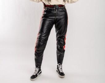 6a27c32aaf8b Vintage Dainese motorcycle pants, Men's real leather biker pants, Vintage  highwaist leather trousers, Women's motorbike sport pants, Size M