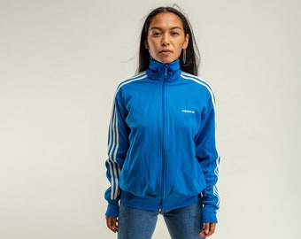 Vintage Adidas sport Jacke dunkel blau achtziger   Etsy