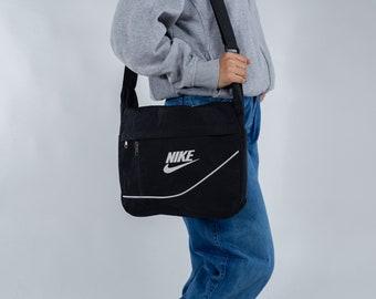 2df93aa0770 Vintage Nike crossbody bag   Black and white shoulder bag   Nike school bag    Medium size bag   Unisex laptop shoulder bag   90s Nike bag