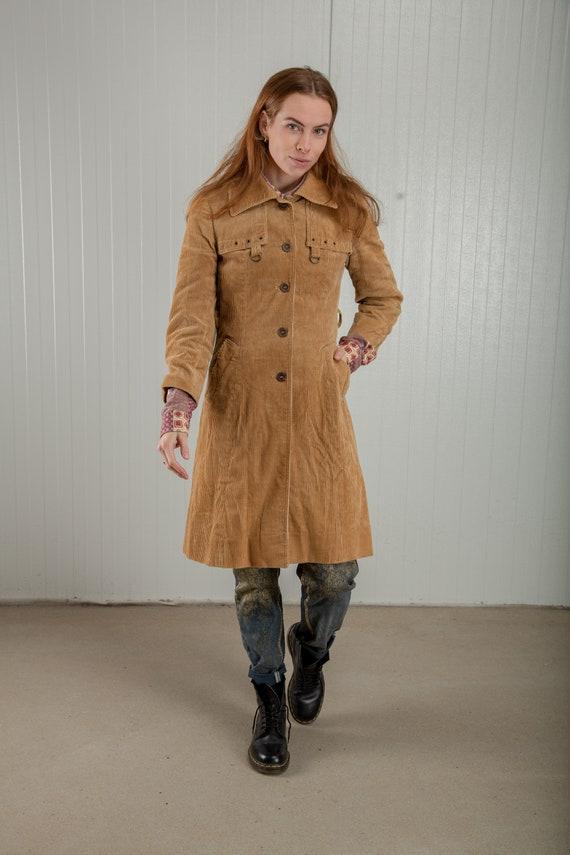 Vintage beige corduroy trench coat, 70s rib trench