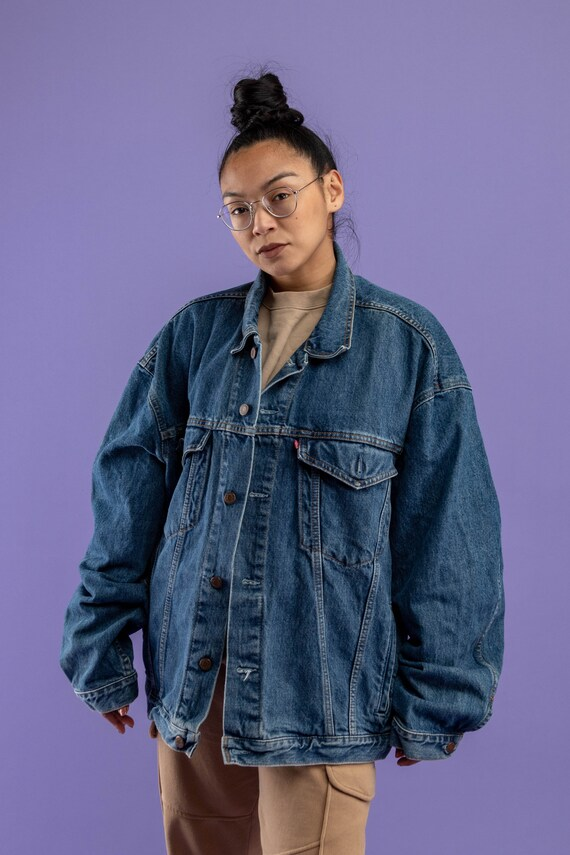 90s Vintage Denim Jacket Blue Dark Wash  Oversize Denim Jacket  Size XLarge Unisex