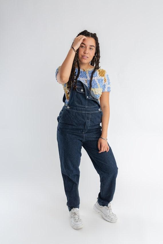 90s Oversized Jeans Dungarees Womens Dark Wash Denim Jumpsuit Mens Long Vintage Denim Overalls Ladies Grunge Denim Romper Size S
