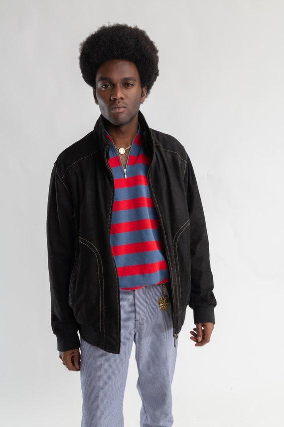 80 veste s noir veste 80 oversize en Suède / daim Vintage Pierre Cardin Veste / cuir femme zip Veste / Blouson bomber en Suède pour hommes / taille M/L 74bddd