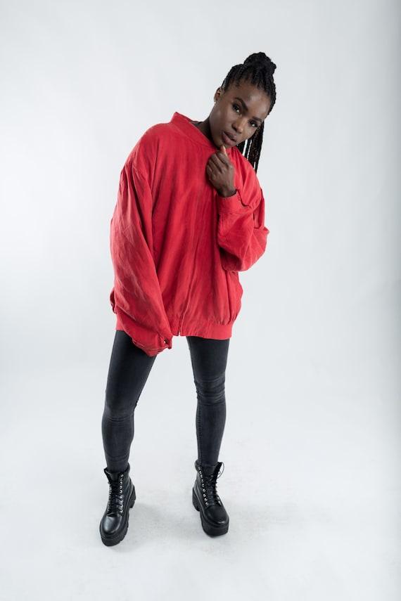 985bb607378 Vintage red silk bomber jacket   90s oversized silk jacket   Vintage Summer  jacket   Ladies silk jacket   Men s bomber jacket   Size XXL