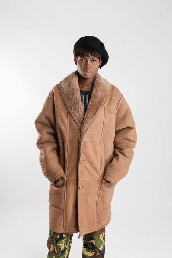 Vintage jacket Size oversized Beige winter coat brown coat sheepskin shearling Light coat L shearling Vintage men's women's leather CFqPxZw