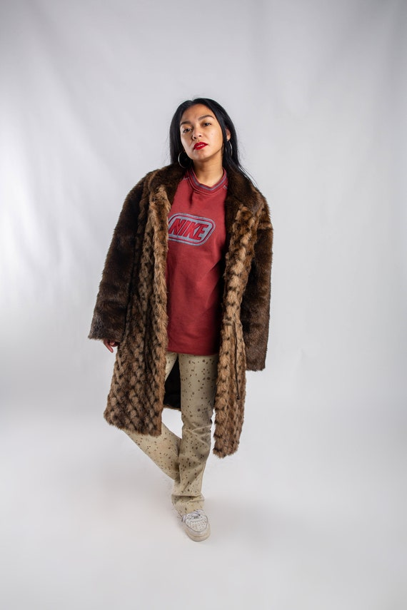 Vintage fake Fur Coat / Long brown Faux Fur Coat /